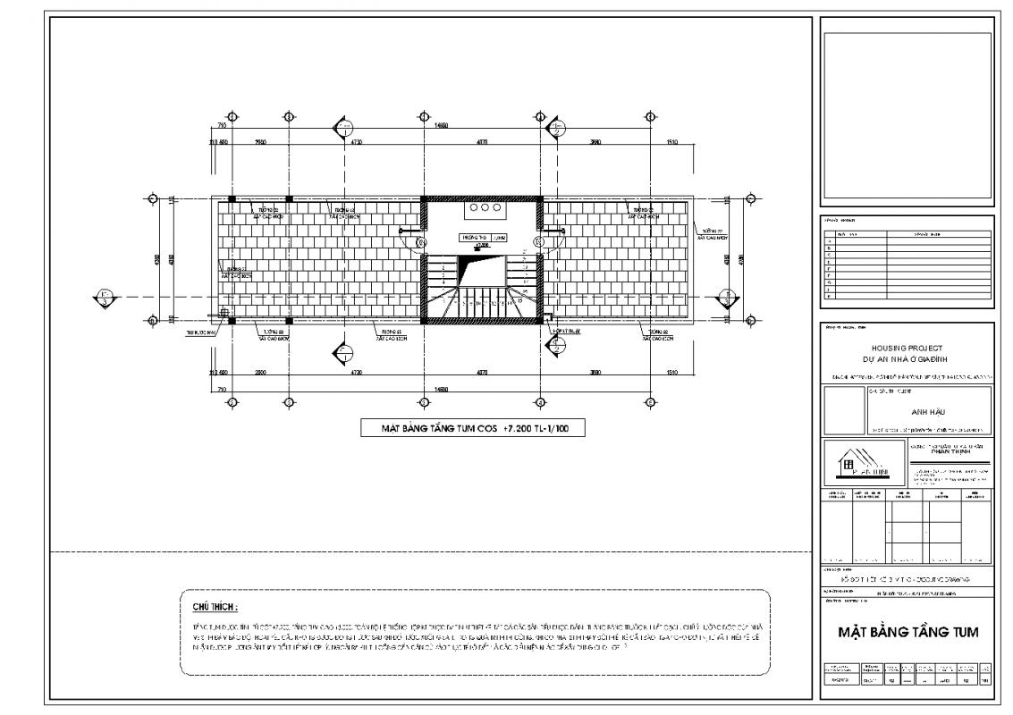 Mặt bằng thiết kế tại tầng tum