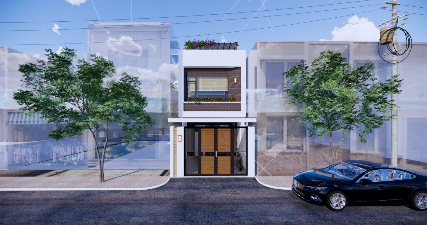 Phương án thiết kế số 2, ngôi nhà 2 tầng hiện đại đẹp tại Quảng Ninh