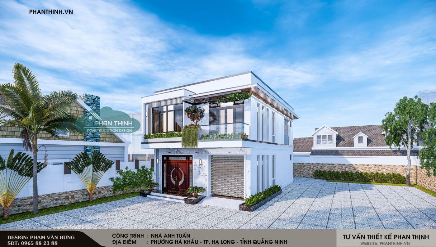 Thiết kế phối cảnh nhà phố 2 tầng hiện đại ở Quảng Ninh, mặt tiền 8m