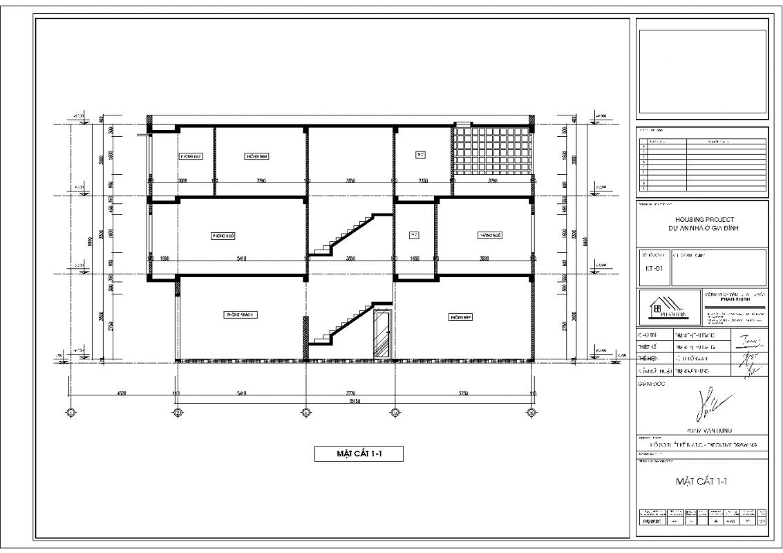 Mặt cắt 1-1 ngôi nhà 3 tầng