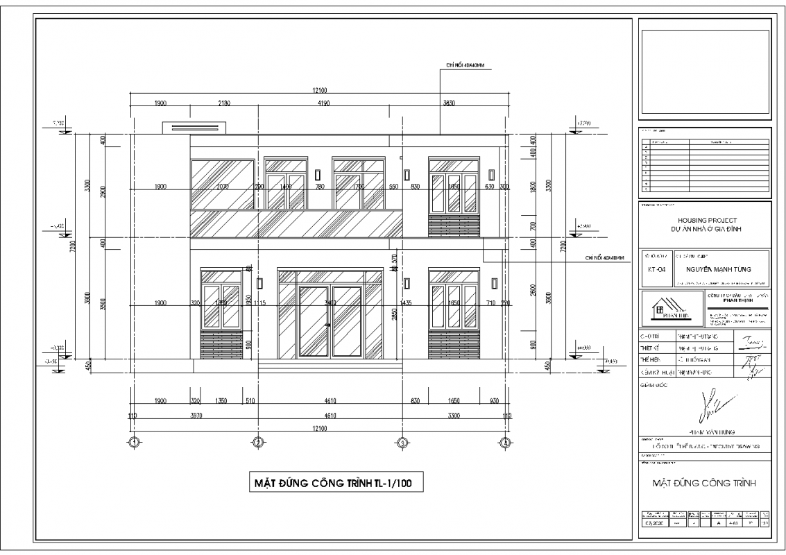Mặt đứng thiết kế nhà phố mặt tiền 12m