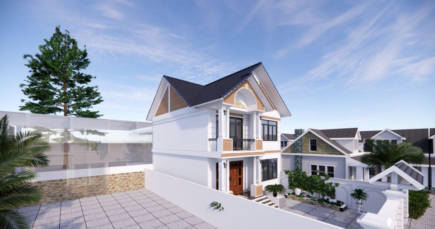 Góc nhìn thiết kế phối cảnh biệt thự mái thái 2 tàng tại Quảng Ninh