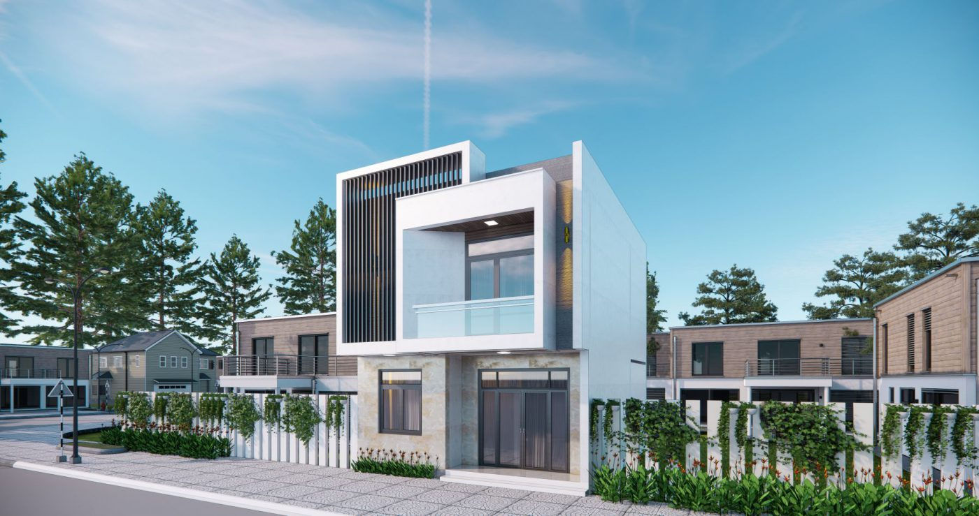 Phương án phối cảnh mặt tiền nhà 2 tầng hiện đại mặt tiền 7m ở Quảng Ninh