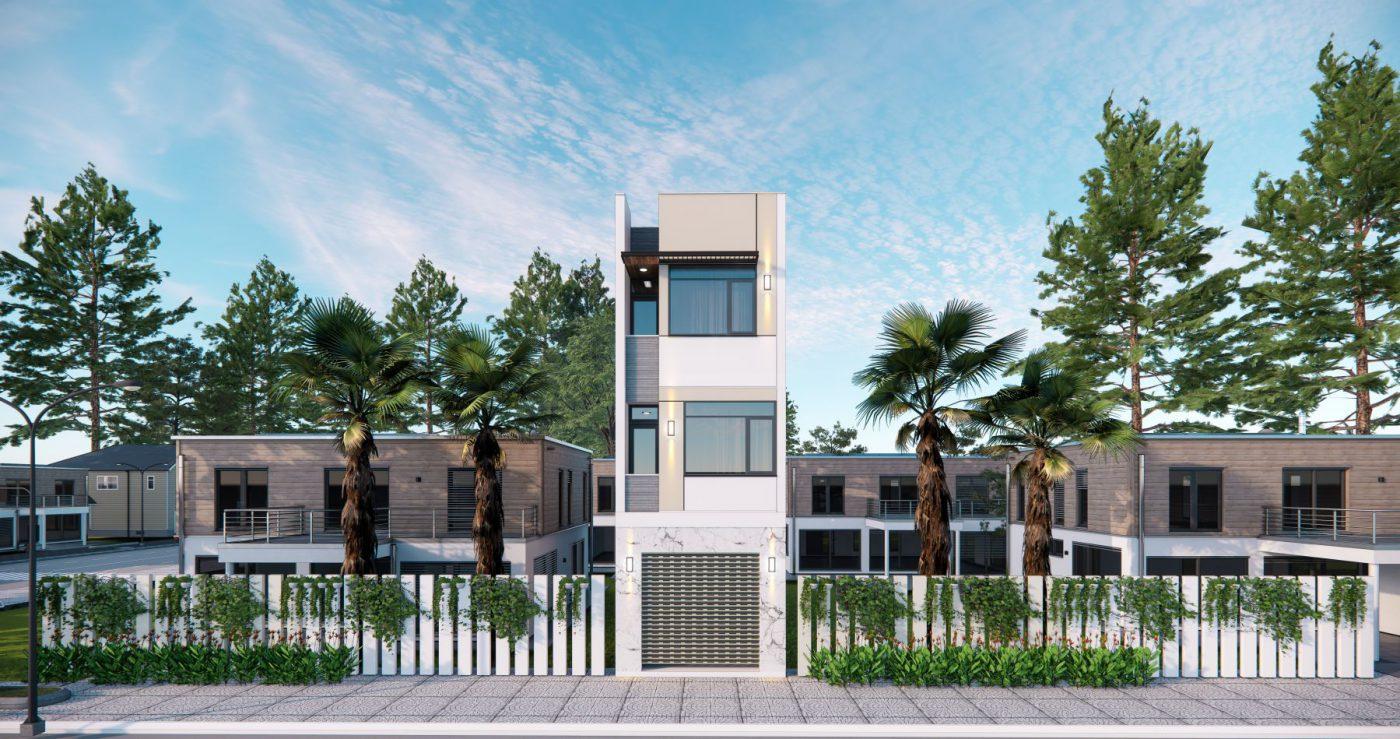 Mẫu mặt tiền ngôi nhà 3 tầng hiện đại mặt tiền 4m ở Quảng Ninh