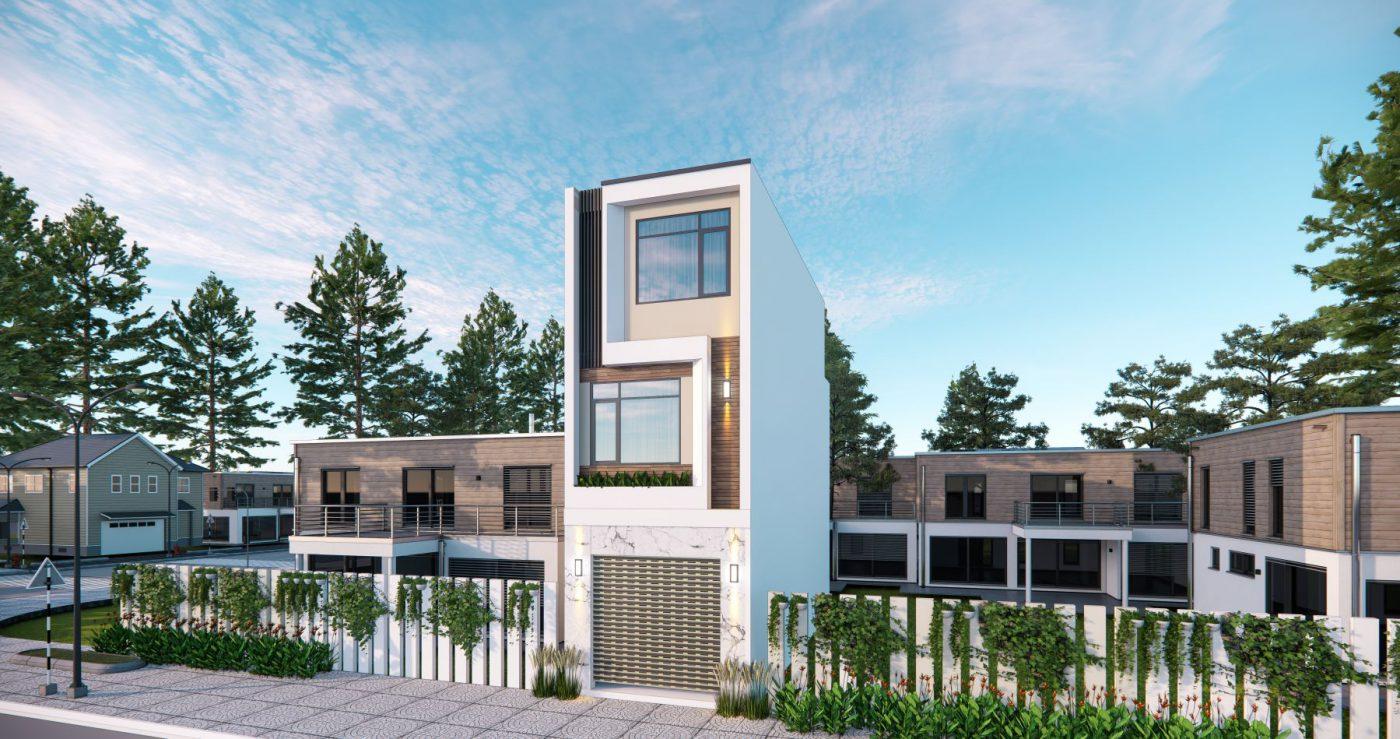 Thiết kế phối cảnh mặt tiền ngôi nhà phố 3 tầng mặt tiền 4m ở Quảng Ninh