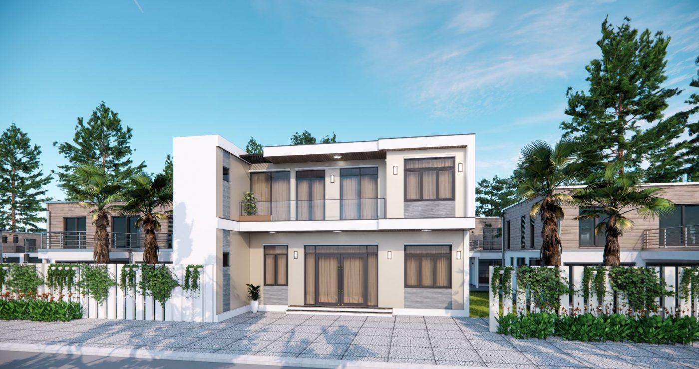Thiết kế phối cảnh nhà phố 12m  2 tầng đẹp ở Quảng Ninh