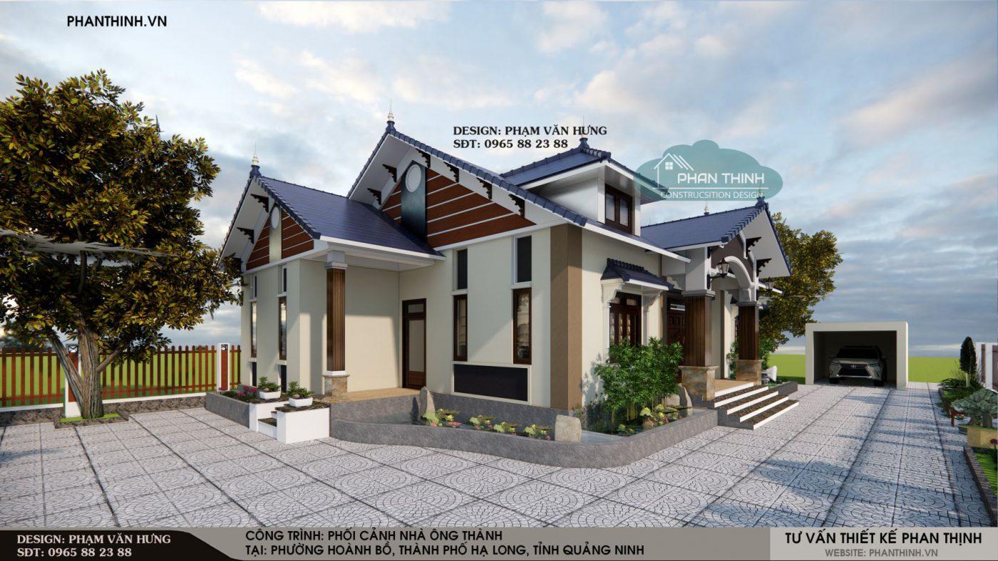 Thiết kế mẫu nhà mái thái 1 tầng tại phường Hoành Bồ, thành phố Hạ Long, tỉnh Quảng Ninh
