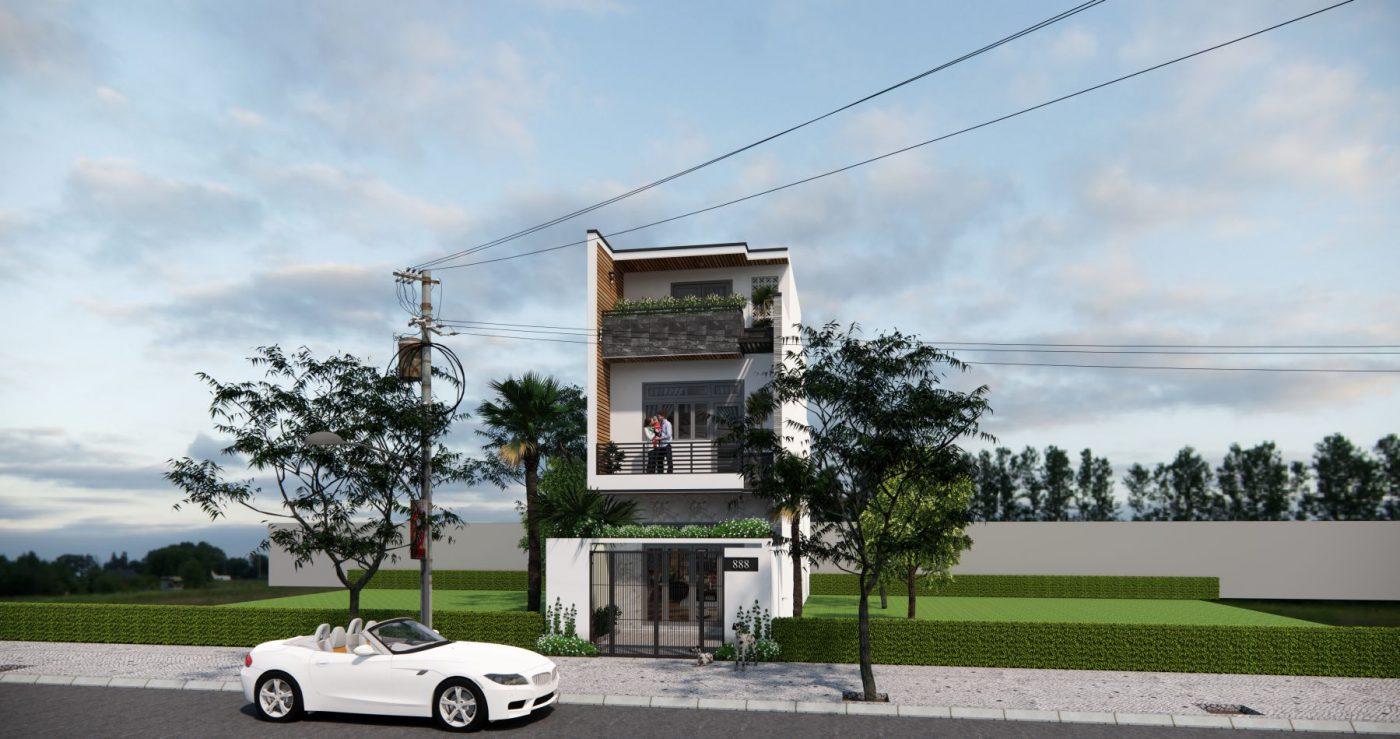Phương án thiết kế mặt tiền trình chủ đầu tư, ngôi nhà 3 tầng hiện đại
