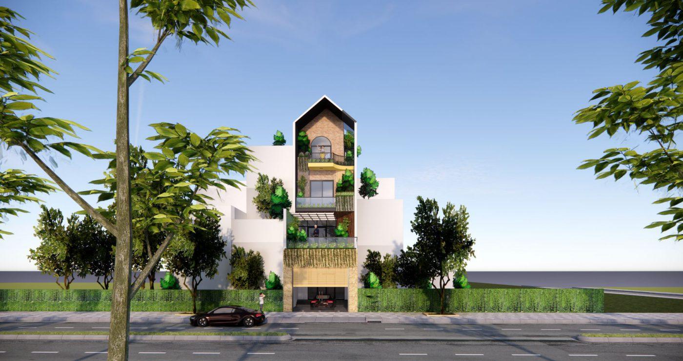 Ngôi nhà có thiết kế mặt tiền rộng 5m, nhà 4 tầng hiện đại