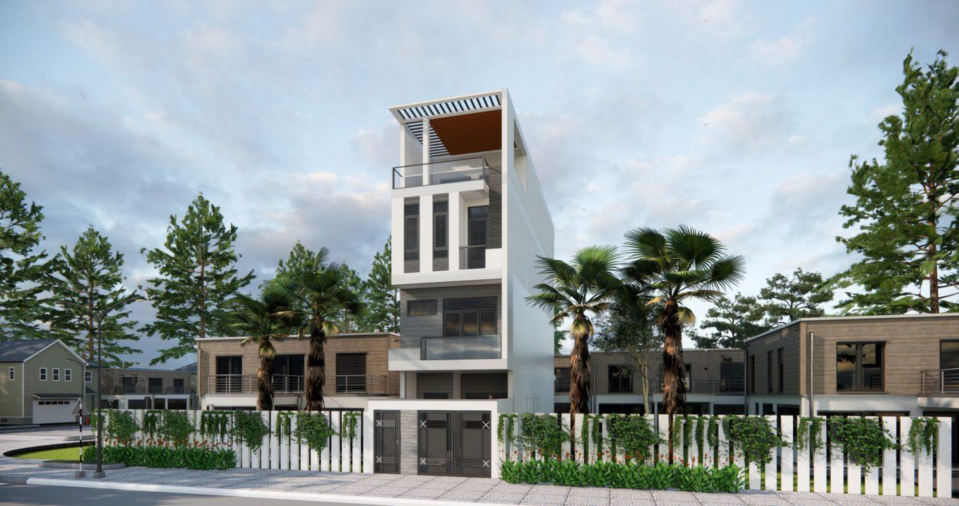 Mẫu thiết kế phối cảnh nhà ống 4 tầng hiện đại ở Quảng Ninh